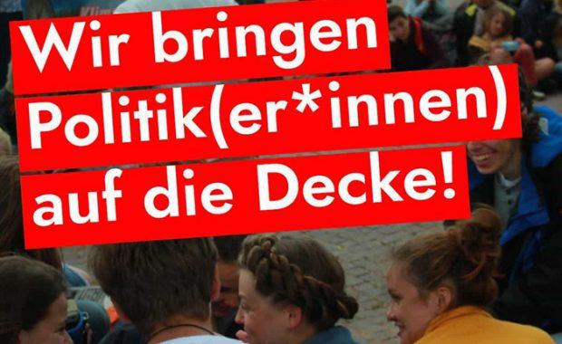 """Picknick 23. August unter dem Motto """"Wir bringen Politiker*innen auf die Decke! zeigt Jugendliche im Gespräch mit Politiker*innen"""