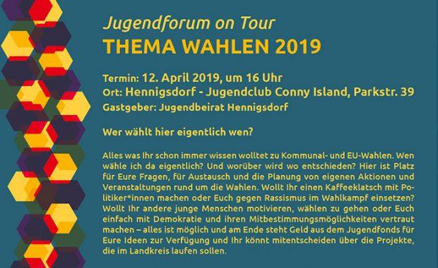 """Fyler-Jugendforum-on-Tour_April 2019 bewirbt das Thema """"Wahlen 2019"""", beschreibt die Veranstaltung, Ort und Zeit"""