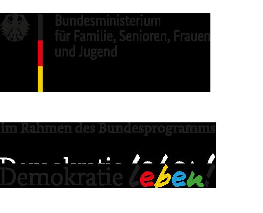 """Logo des Bundesprogrammes """"Demokratie leben"""" des Bundesministerium für Familie, Senioren, Frauen und Jugend"""