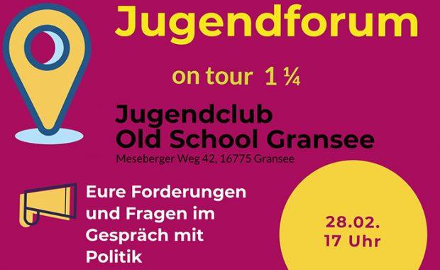 """Banner der Kinder- und Jugendkonferenz mit dem Motto """"Ist das Demokratie oder kann das weg?"""" sowie Ort und Zeit"""