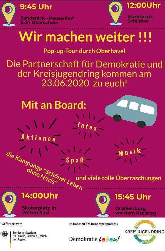 Flyer Pop-up-Tour Oberhavel zeigt Termine und Orte der Tour auf.