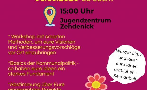 Flyer zum Jugendforum am 1. Oktober 2020 im Jugendzentrum Zehdenick