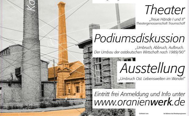 Plakat zur Veranstaltung Zeitenwende - Wendezeiten am 27. September 2020 im Oranienwerk, Oranienburg.