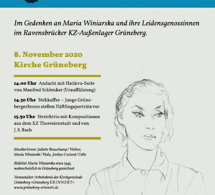 Bild zum Plakat zu: Plakat zu: Grüneberg ERINNERT am 8. November mit einer Veranstaltung in der Kirche Grüneberg. Im Gedenken an Maria Winiarska und ihre Leidensgenossinnen im Ravensbrücker KZ-Außenlager Grüneberg.