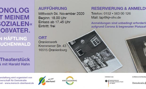 """Flyer zum Theaterstück """"Monolog mit meinem """"asozialen"""" Großvater"""" gegen Ausgrenzung am 4. November 2020 in Oranienburg."""