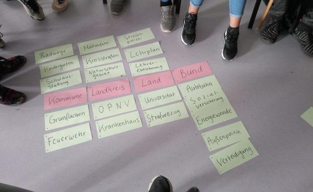 Das Foto zeigt eine Anordnung von Schlagworten, zusammengetragen von Jugendlichen im Rahmen des 2. Jugendforums Oberhavel 2020.