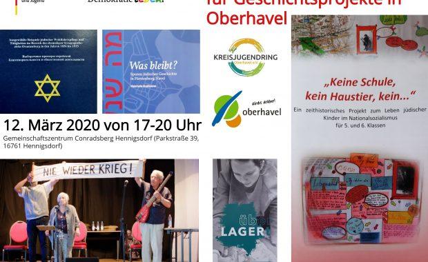 Flyer zum Netzwerktreffen Salon für Geschichtsprojekte im März 2020 in Hennigsdorf für lokale Erinnerungsarbeit.