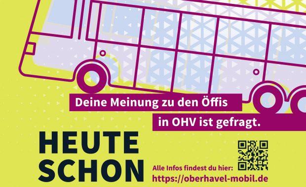"""Plakat zur Umfrage """"Deine Meinung zu den Öffis in OHV ist gefragt."""" auf oberhavel-mobil.de zeigt eine Illustration mit Bus."""