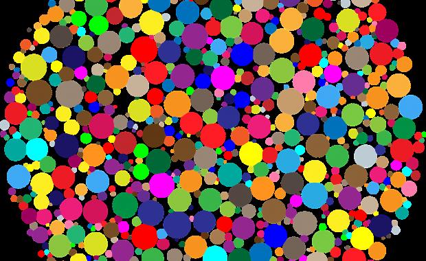 Grafik mit unterschiedlich großen und farbigen Punkten