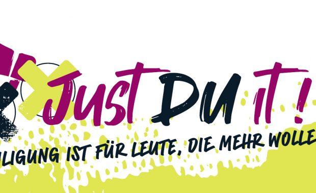 Das Banner der Kinder- und Jugendkonferenz 2021 in Oberhavel mit dem Aufruf: JustDUit!