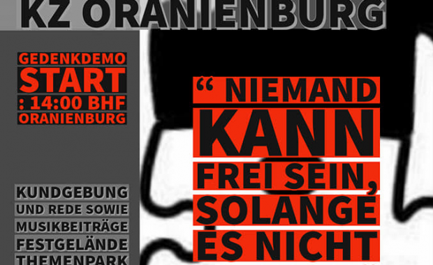 Illustrierter Flyer zum Gedenkspaziergang: Gedenken an Erich Mühsam am 10. Juli 2021 in Oranienburg