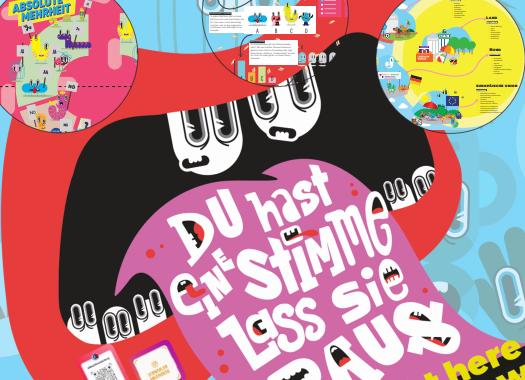 Das illustrierte Poster zur U18-Wahl fordert junge Menschen in Brandenburg auf: Du hast eine Stimme, lass sie raus.