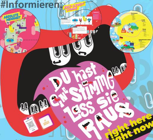 Das Motiv zeigt ein illustriertes Plakat, das zur U18-Wahl am 17. September 2021 aufruft.