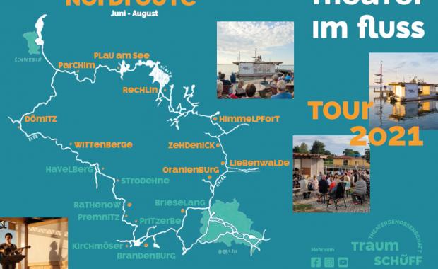 Das Bild zeigt die Route des Theaters Traumschüff, dass im Sommer 2021 durch Brandenburg und Mecklenburg tourt.