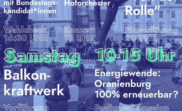 Flyer: Fridays for Future Oberhavel und Parents for Future Oberhavel laden am 27.8.2021 zu einer 24-h-Mahnwache für's Klima ein.