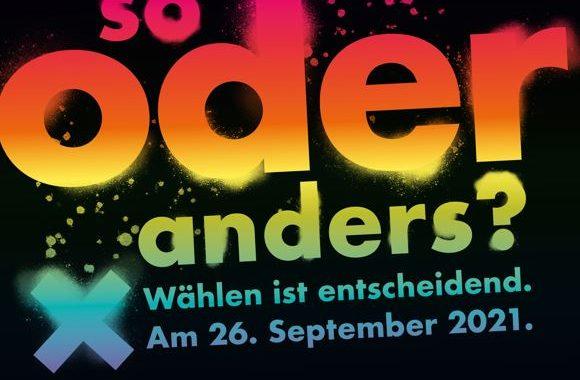 """Banner zur bundesweiten Kampagne """"Wählen ist entscheidend"""" anlässlich der Bundestagswahl am 26.9.21"""