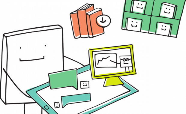 Bild zeigt Ilustration zur Darstellung einer Lernplattform